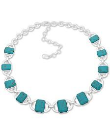 """Lauren Ralph Lauren Silver-Tone Stone Collar Necklace, 17"""" + 2"""" extender"""