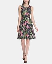 9f989c7c20c8 Tommy Hilfiger Floral-Print Lace Fit & Flare Dress