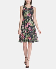 Tommy Hilfiger Petite Floral-Print Lace Fit & Flare Dress