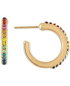 RACHEL Rachel Roy Gold-Tone Multicolor Pavé Extra Small Hoop Earrings