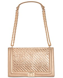 I.N.C. Ajae Woven Flap Metallic Crossbody, Created for Macy's