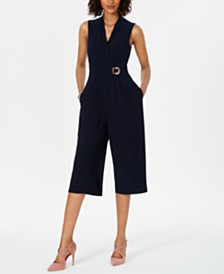 Jessica Howard Petite Faux-Wrap Cropped Jumpsuit