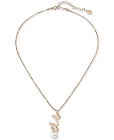 "Majorica Sterling Silver Imitation Pearl Spiral Pendant Necklace, 14"" + 4"" extender"