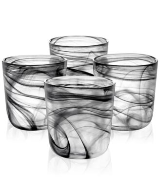 Black Swirl Double Old-Fashioned Glasses, Set of 4, Created for Macy's