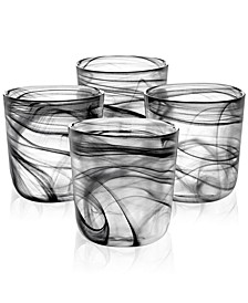 CLOSEOUT! Black Swirl Double Old-Fashioned Glasses, Set of 4, Created for Macy's