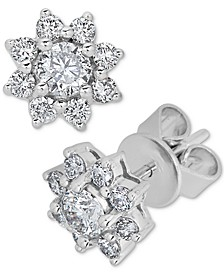 Diamond Flower Stud Earrings (3/4 ct. t.w.) in 14k White Gold