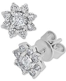 Diamond Flower Stud Earrings (3/4 ct. t.w.) in 14k White Gold