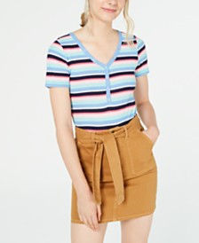 Planet Gold Juniors' Striped V-Neck Top