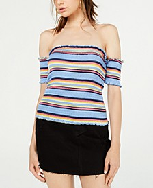 Juniors' Smocked Off-The-Shoulder Crop Top