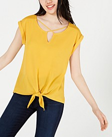Juniors' Crisscross Knotted Top