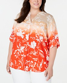 Calvin Klein Plus Size Printed Button-Front Roll-Tab-Sleeve Top