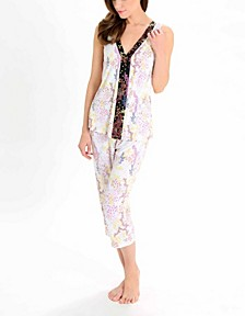 Women's Sleeveless V-Neck Top and Capri Pant PJ Set