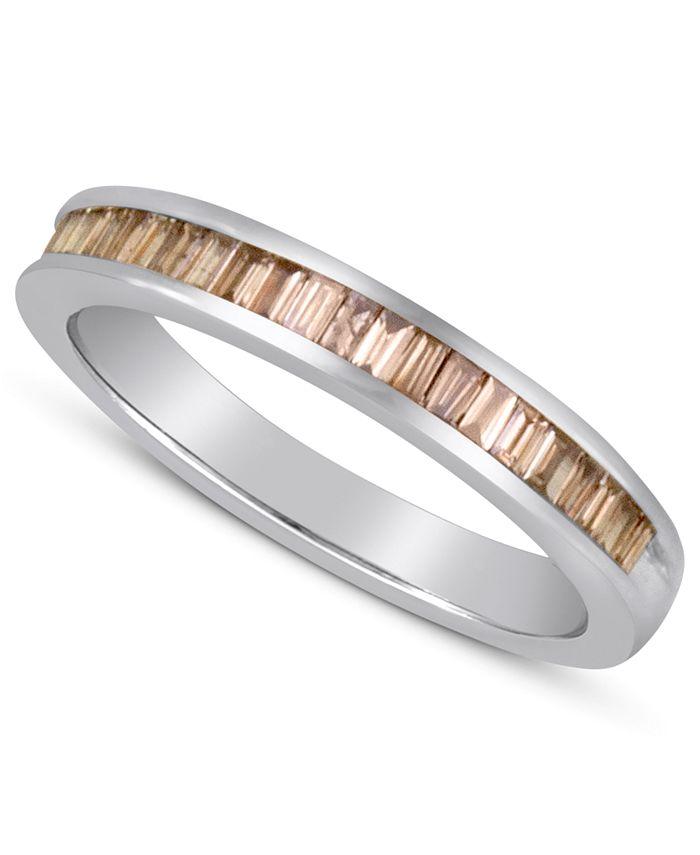 Macy's - Baguette-Cut Champagne Diamond Ring in Sterling Silver (1 ct. t.w.)
