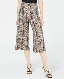 Juniors' Printed Tie-Waist Cropped Soft Pants