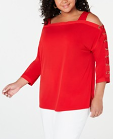 JM Collection Plus Size Lace-Up-Sleeve Top, Created for Macy's