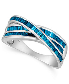Sterling Silver Ring, Blue Diamond Crossover Ring (1 ct. t.w.)