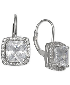 Giani Bernini Cubic Zirconia Square Halo Drop Earrings in Sterling Silver, Created for Macy's
