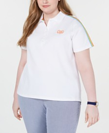 Tommy Hilfiger Plus Size Rainbow-Stripe Polo, Created for Macy's