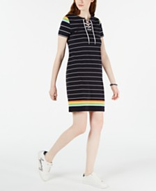 Tommy Hilfiger Prism Stripe Lace-Up Dress, Created for Macy's