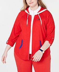 Sport Plus Size Tab-Sleeve Zip Hoodie