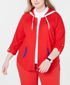 Tommy Hilfiger Plus Size Tab-Sleeve Zip Hoodie