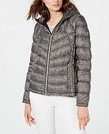 Leopard Print Packable Hooded Down Puffer Coat, Created for Macy's