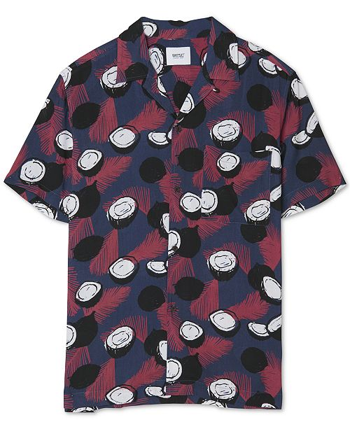 WeSC Men's Nevin Abstract Fern Print Short Sleeve Shirt