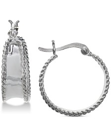 Giani Bernini Rope Trimmed Hoop Earrings in Sterling Silver, Created for Macy's