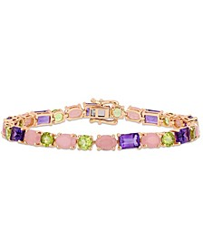 Amethyst (6-1/2 ct. t.w.), Quartz (10 ct. t.w.) and Peridot (5-5/8 ct. t.w.) Tennis Bracelet in 18k Rose Gold over Sterling Silver