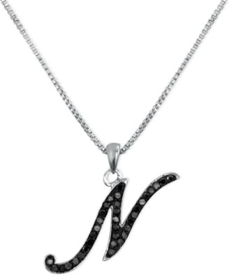 """Sterling Silver Necklace, Black Diamond """"N"""" Initial Pendant (1/4 ct. t.w.)"""