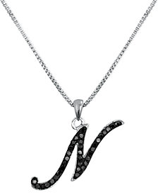 "Sterling Silver Necklace, Black Diamond ""N"" Initial Pendant (1/4 ct. t.w.)"