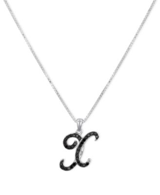 """Sterling Silver Necklace, Black Diamond """"X"""" Initial Pendant (1/4 ct. t.w.)"""
