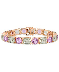 Amethyst (19-7/8 ct. t.w.) and Prasiolite (26 ct. t.w.) Mosaic Tennis Bracelet in 18k Rose Gold over Sterling Silver