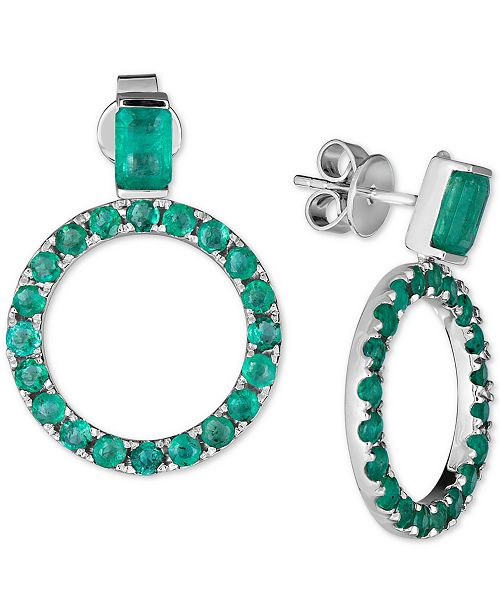 Macy's Emerald Drop Hoop Earrings (5 ct. t.w.) in Sterling Silver (Also available in Sapphire and Certified Ruby)