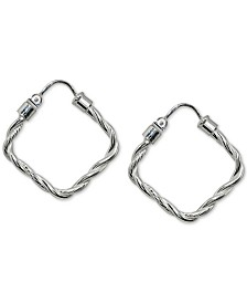 Giani Bernini Twisted Square Hoop Earrings in Sterling Silver, Created for Macy's