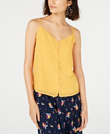 Maison Jules Embellished Button-Up Camisole Top, Created for Macy's