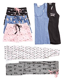 Jenni Pajama Tank Top, Shorts & Pants Separates, Created by Macy's