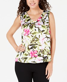 Kasper Floral-Print Sleeveless Top