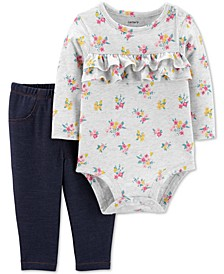 Baby Girls 2-Pc. Floral-Print Bodysuit & Denim Leggings Set