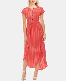 Vince Camuto Striped Tie-Waist Shirtdress
