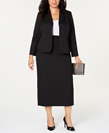 Le Suit Plus Size Three-Button Notch-Collar Skirt Suit
