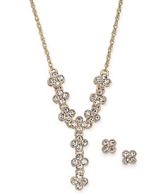 "Charter Club Gold-Tone Crystal Clover Lariat Necklace & Stud Earrings Set, 17"" + 2"" extender, Created for Macy's"