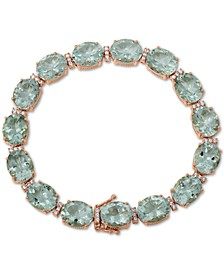 Prasiolite (32 ct. t.w.) & White Topaz (1/2 ct. t.w.) Bracelet in 18k Rose Gold-Plated Sterling Silver