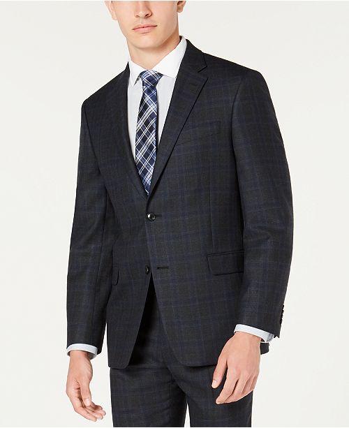 Men's Modern Fit THFlex Stretch BlueCharcoal Windowpane Plaid Suit Jacket