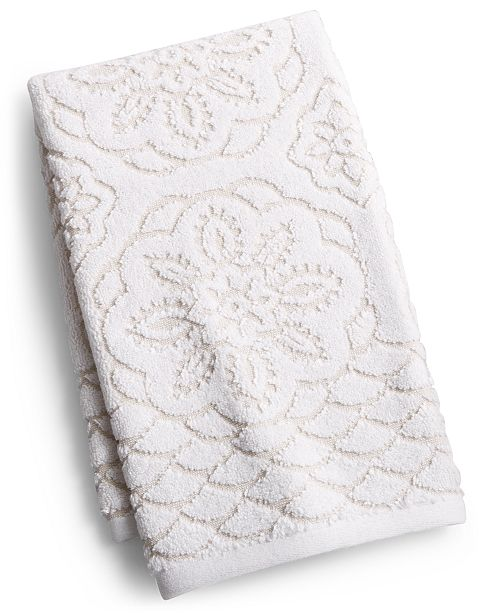 "Martex  Rosa Floral Medallion Sculpted Cotton 16"" x 28"" Hand Towel, Created for Macy's"