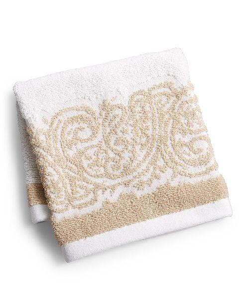 "Martex  Gianna Paisley Border Cotton 13"" x 13"" Washcloth, Created for Macy's"