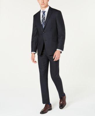Men's Modern-Fit THFlex Stretch Blue/Charcoal Windowpane Plaid Suit Jacket