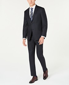 Tommy Hilfiger Men's Modern-Fit THFlex Stretch Blue/Charcoal Windowpane Plaid Suit Separates