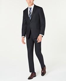 Tommy Hilfiger Men's Modern-Fit THFlex Stretch Blue/Charcoal Windowpane Plaid Suit Separates