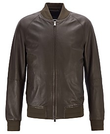 BOSS Men's Bomber-Style Leather Jacket